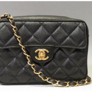MINT. Vintage Chanel black caviar leather mini 2.55 camera bag style chain shoulder bag with golden CC ball charm. Must have purse.