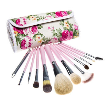 12 PCs goat hair makeup Brush Professional Makeup kits Cosmetic Facial Make Up Set tools With rose flower Bag
