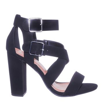 Wrist Chunky Block High Heel Double Buckle Gladiator Women Dress Sandal Shoes