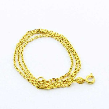 24K GP Gold Plated Necklace Mens Women Yellow Gold Golden Jewelry Necklace YHDN 88 MP