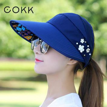 COKK Summer Hats For Women Foldable Sun Hat Female Flower Beach Hat Wide Brim Visor Chapeau Femme Adjustable Suncreen UV Protect