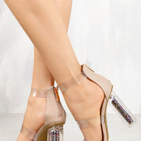 Rose Gold Pink Clear Heels
