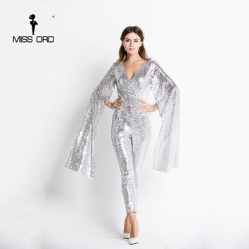 Sexy deep v Angel wings sequin Jumpsuit