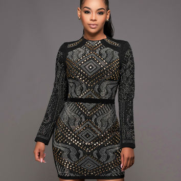 Rhinestone Embellished Long Sleeve Bodycon Dress