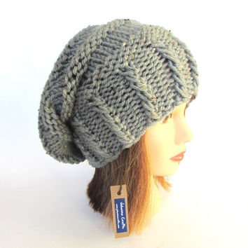 Natural light gray tweed womens slouch hat slouchy Beanie hat for women chunky knit hat irish knitted hat grey taupe hat with fleck Johanna