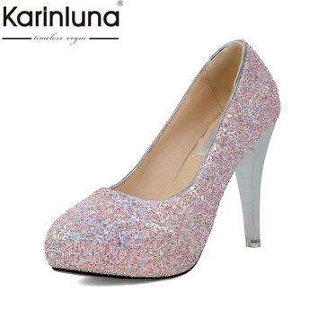 KARINLUNA 2018 Large Size 33-43 Office Platform Spike Heels Woman Shoes Slip On Elegant Bling Party Wedding Shoes Woman Pumps