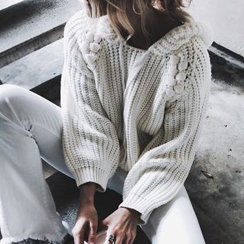 Autumn Winter Women Hooded Sweaters And Pullovers Korean Style Long Sleeve Sweater Solid Knitted Jumpers Sweter Mujer