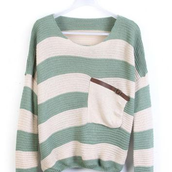 Product search_Green Stripes Loose Sweater with Pocke_udobuy - Fashion Dress with Free Shipping