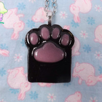 Kawaii Cat Paw Necklace - Pink and Black