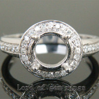 8mm Round Cut 14K White Gold Pave .25ct Diamonds Halo Engagement Semi Mount Ring