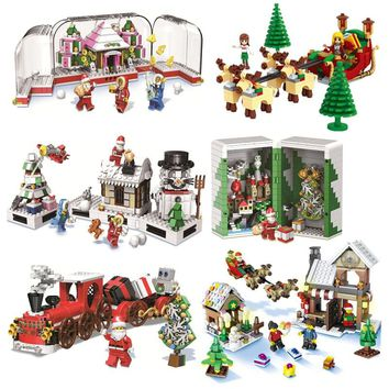 Girl Series Winter Village Christmas Modular Creator Santa Reindeer Building Bricks Blocks Toys Compatible With Lego Friends