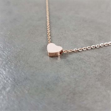 Stainless Steel Brushed Heart Necklace Women Boho Jewelry Stainless Steel Chain Pendant Rose Gold Necklace Collier Bijoux Femme