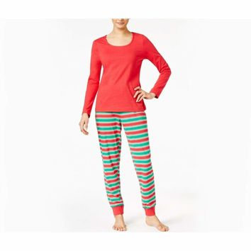 Family Pajamas Macy's Women's L/S Pajama Set F17104052 Holiday Stripe Large