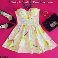Daisy Floral Retro Bustier Dress with Adjustable Straps - Size S/M BD 616 - Smoky Mountain Boutique