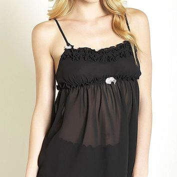 Black Ruffled Chiffon Cami-Tap Pants Set (Small-Large)