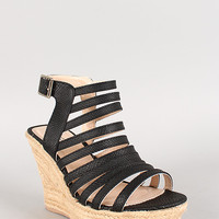 Qupid Snake Strappy Espadrille Slingback Wedge