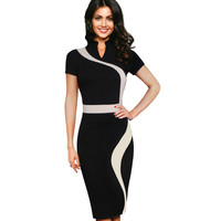 Vfemage Womens Vintage Contrast Colorblock Slimming Wear To Work Office Business Casual Party Pencil Sheath Bodycon Dress  2015
