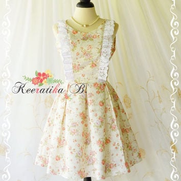 Alice In Wonderland - Alice Floral Dress Cut Off Back Tea Dress Peach Floral Dress Backless Prom Party Dress Wedding Bridesmaid Dress XS-XL