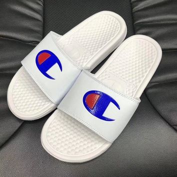 Champion Trending Women Men Simple Logo Print Sports Casual Slippers Sandals I
