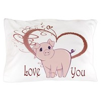 Love You, Cute Piggy Art Pillow Case on CafePress.com