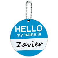 Zavier Hello My Name Is Round ID Card Luggage Tag