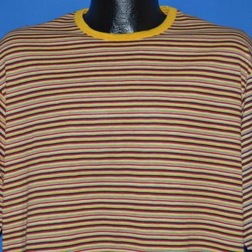 90s Skating Yellow Black Red Striped t-shirt Extra Large