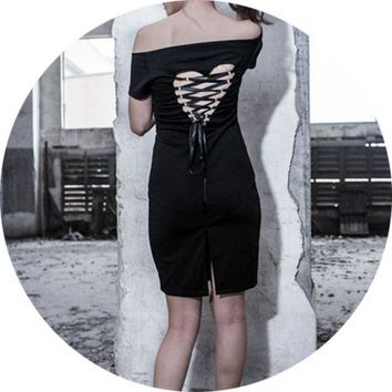 Women Punk Gothic Goth Mini Short Dress One Shoulder Black Dark Style Heart Hollow Out Lace Up Tie Black New Dresses New 2018
