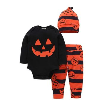 MUQGEW infant girls boys Halloween Clothes Sets Letter Romper Tops Pumpkin Print Pants Cap kinder kleding  #TX4