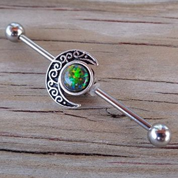 Industrial Barbell Fire Opal Tribal Moon