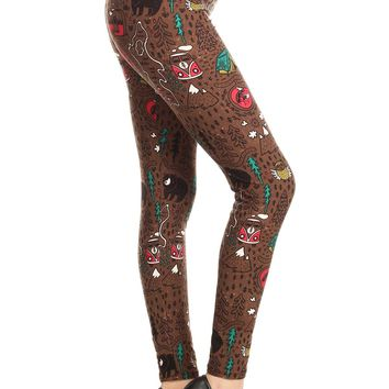 """Leggings for Women """"Happy Camper"""" Camping, Bears, Fox, Owls, Tents Brown: OS/PLUS"""