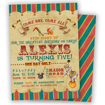 Circus Birthday Invitation - Vintage Circus Invite - Circus Birthday Party Girl Boy - Circus Party Invitations - Old Fair Ticket Rustic