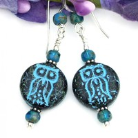 Turquoise Black Owl Earrings, Rustic Glass Handmade Jewelry Gift Idea