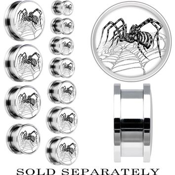 Steel Monochrome Spider on Web Screw Fit Plug