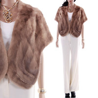 Ash Blonde Mink Stole Cropped Capelet Boho Wedding or Holiday Cocktail Party Shrug 1960's Vintage Clothing Womens Size Medium