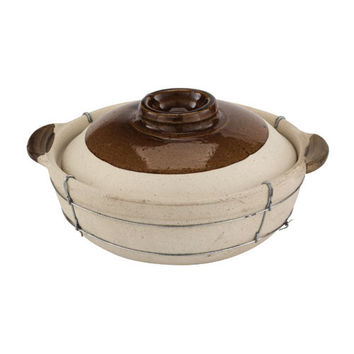 2 Quart Dual Handled Clay Cooking Pot