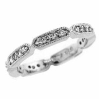 Sterling Silver CZ Antique Eternity Ring
