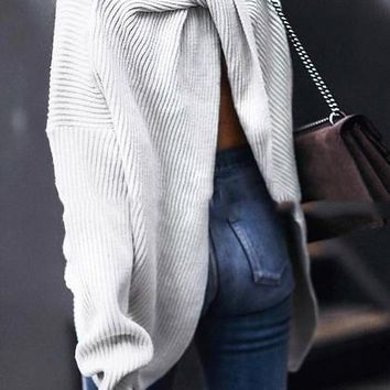 White Open Back Long Sleeve Knit Sweater