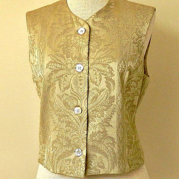 Vintage Womens Vest, Tahari Designer Vest, Tailored Vest, Gold Satin Brocade Fabric, Fully Lined Vest, Size 6.