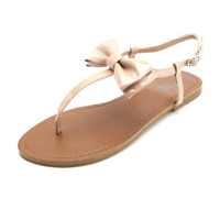 Charlotte Russe - Patent Bow T-Strap Sandal