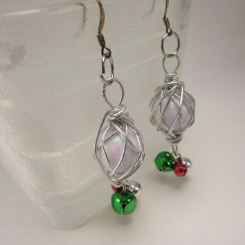 Wire Wrapped White Dangle Earrings,Christmas Jingle Bell Earrings, Beaded Dangle Earrings
