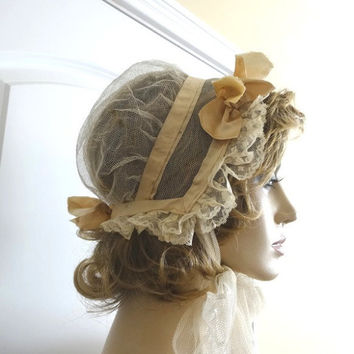 Early 1900s Antique Lady's Wind Bonnet in Ivory Satin, Net Tuelle, Lace, Wired Brim, Victorian, Edwardian Style, Costume, Vintage Bonnet