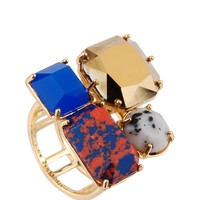 Les Néréides GEOMETRICAL FINERY MARBLED RED,GREY,BLUE AND GOLD STONE RING