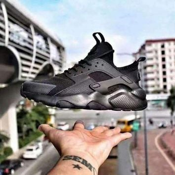 DCC3W Nike Air Huarache 4 ALL BALCK Men and Women running shoes 36-46
