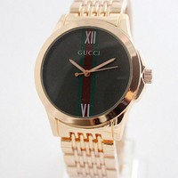 Gucci Simple Men Women Print Quartz Watch Exquisite Creative Striped Mirror Wrist Watch Rose Gold Belt Black Dial