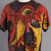 90s DRAGON Allover Print T-SHIRT / 1990s Front and Back Dragon Slayer Knight Tee Shirt