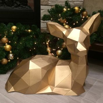 DIY Home Decoration Cute Christmas Elk Deer Paper Model Puzzle Toy Animal for Restaurants Waterproof Educational Folding Model