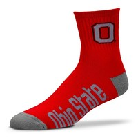 For Bare Feet Ohio State Buckeyes Team Color 1/4-Crew Socks - Adult, Size: