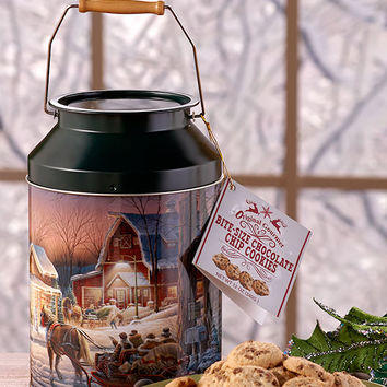 Christmas Holiday Chocolate Chip Cookie Milk Tin Winter Wonderland Tree Trimming