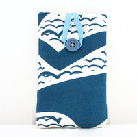 Wave print phone case , hand printed blue wave print fabric sleeve cover Iphone 5s 5c 4s samsung galaxy s2  , UK seller