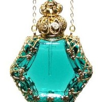 Czech Victorian Style Decorative Perfume Bottle Pendant Necklace Gold Plated